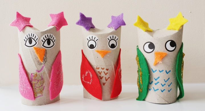 Toilet roll owls. Toilet rolls decorated with felt and sticker eyes to look like owls. 4 Freckled Faces.