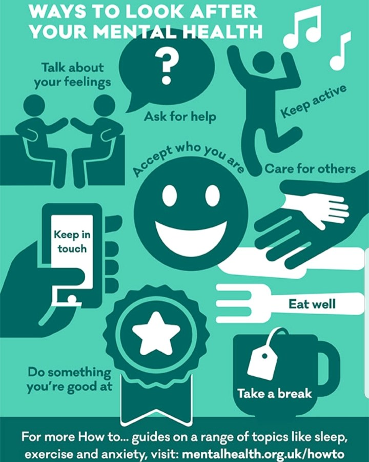 Mental Health Day. A poster with suggestions on how to look after your Mental Health. 4 Freckled Faces.
