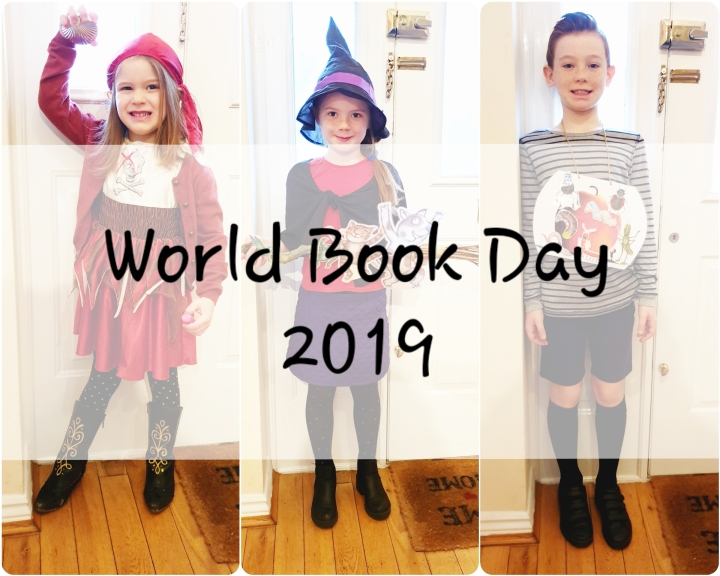 World book day costumes. Girl pirate. Witch. Room on the broom. James and the giant peach. 4 Freckled Faces.