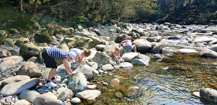 Kids throwing stones in a stream. 4 Freckled Faces. Coed y Brenin. Wales.