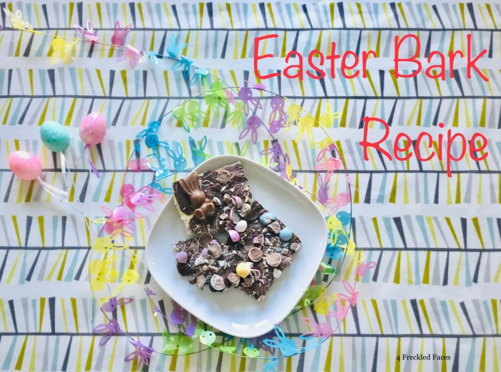 Easter bark. Recipe. Chocolate. Mini eggs. Mini Malteser bunnies. 4 Freckled Faces