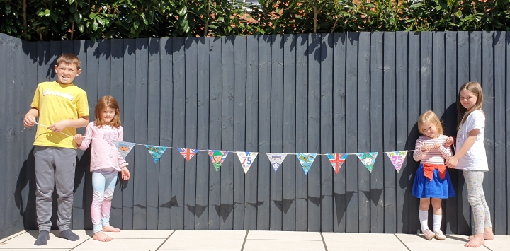 VE Day. Bunting. VICTORY IN EUROPE. 4 Freckled Faces.