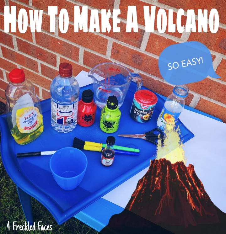 How to make a volcano. DIY volcano. 4 Freckled Faces.